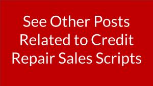 credit repair sales script